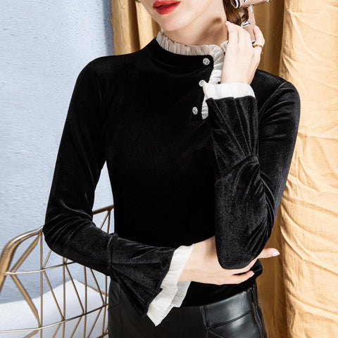 Velvet ruffle mock neck flare sleeve tops