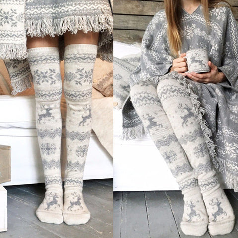 Thigh high print cable knit stockings