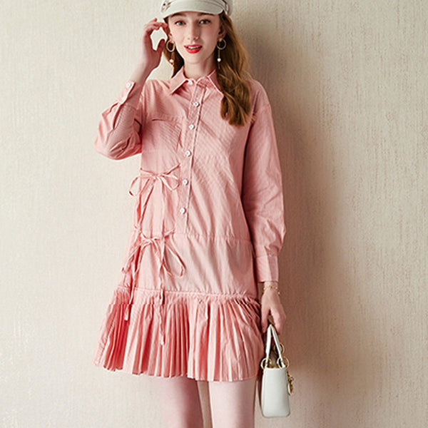 Striped drawcord pleated shirt dresses