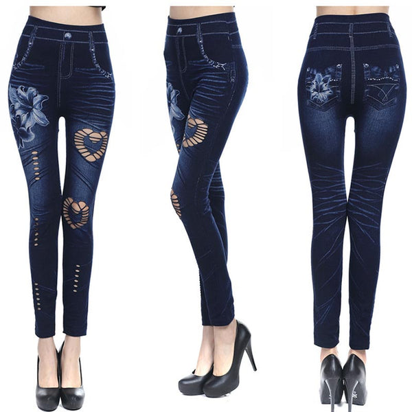 Openwork flower skinny denim pants - Fancyever