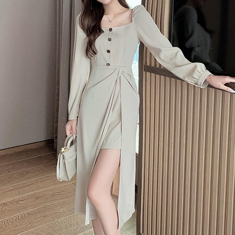 Square neck solid split shift dresses