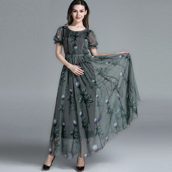 Plus size ruffle tulip print gathered waist maxi dresses