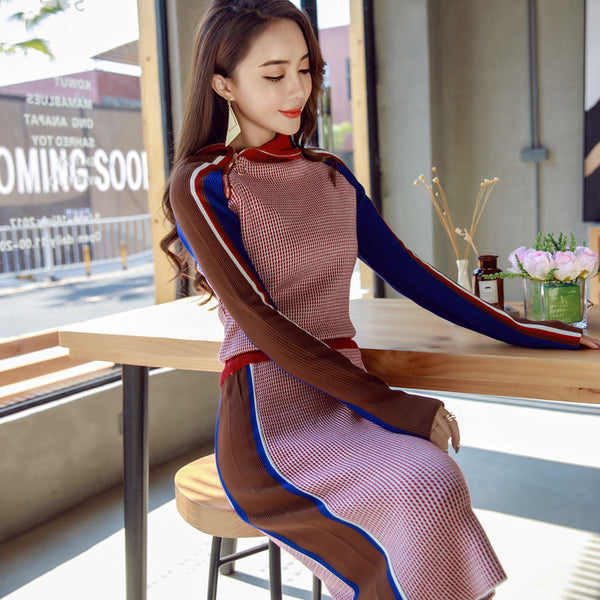Turtleneck zipper side sweater skirt suits