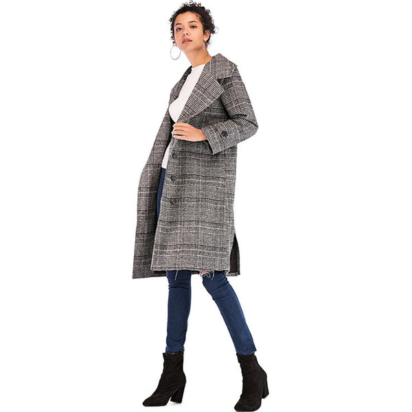 Plaid wide lapel straight peacoats