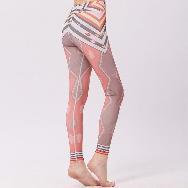 High waisted print active pants