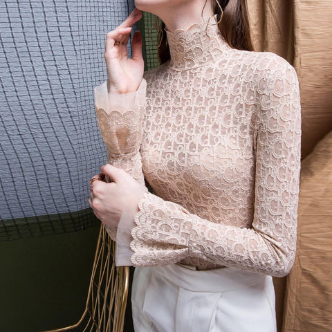 Flare sleeve openwork lace blouses