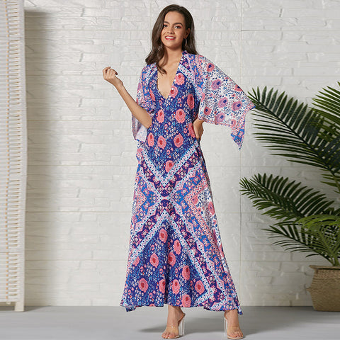 Elegant floral print v-neck slim bohemian dress - Fancyever