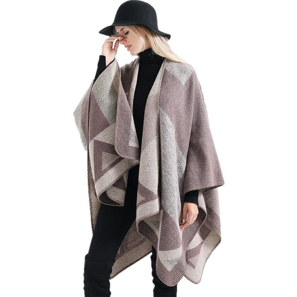 Color-blocked windproof thick shawls scarves - Fancyever