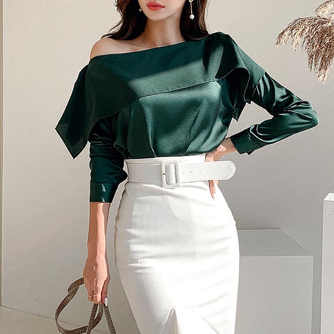 Off-the-shoulder ruffle pullover blouses