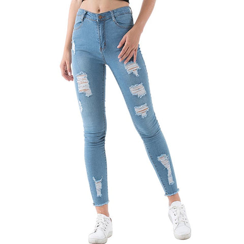 Denim high waisted ripped pencil pants - Fancyever
