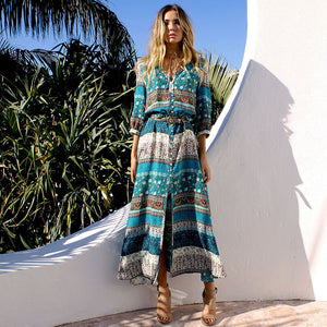 Bohemia retro high slit maxi dresses