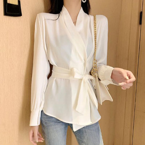 V neck solid soft bowknot blouses