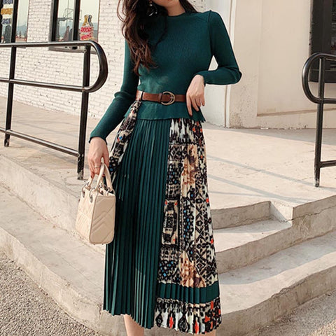Knitted patchwork print pleated maxi dresses
