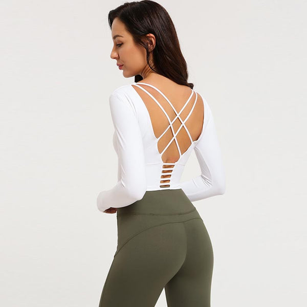 Long sleeve cross back sport tops - Fancyever