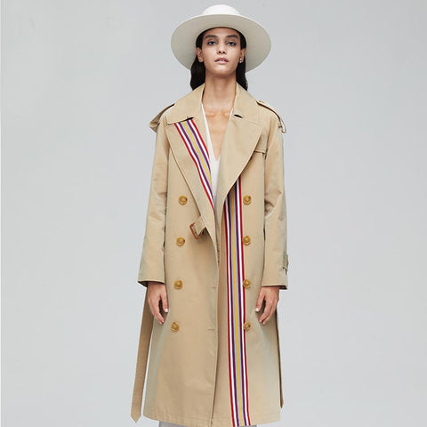Patchwork belt double-breasted trench coats - Fancyever
