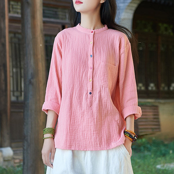 Mock neck linen tops with pockets