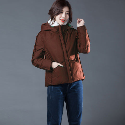 Hooded straight duck down jackets