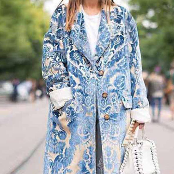 Large lapel print long coats with buttons
