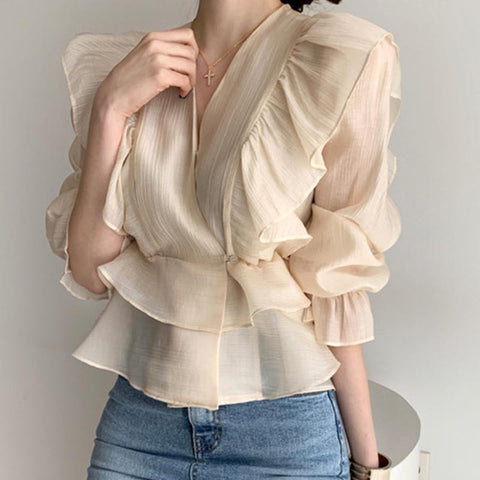 Vintage transparent solid ruffled blouses