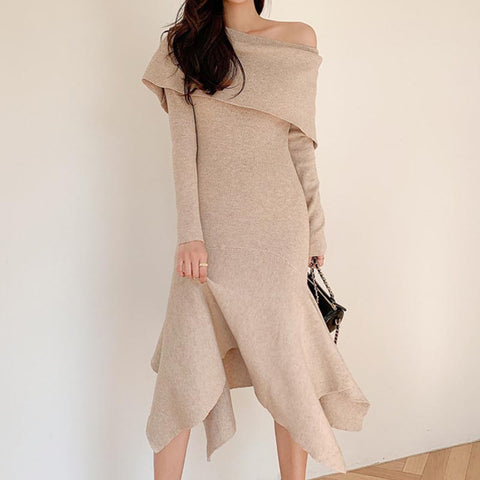 Off-the-shouldersolid high-low solid sweater dresses