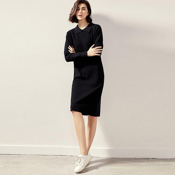 Polo collar shift sweater dresses - Fancyever