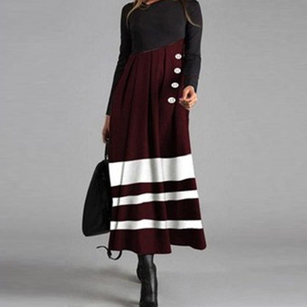 Striped color-blocked big hem maxi dresses