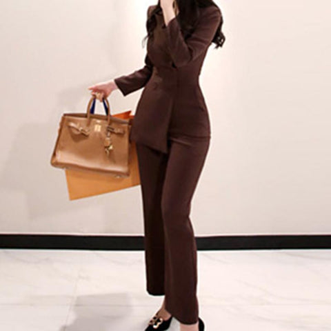 Turn down collar solid slim autumn pants suits