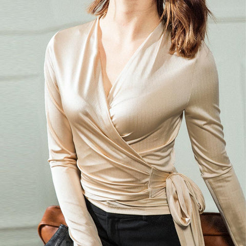 V neck solid smooth ribbon blouses