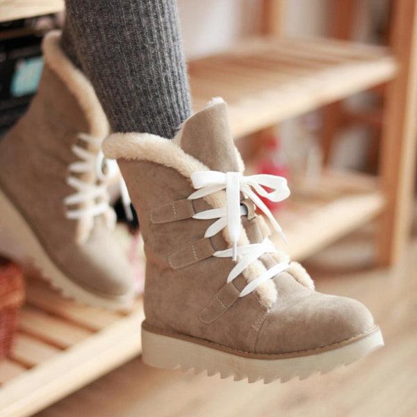 Suede solid lace-up fur boots