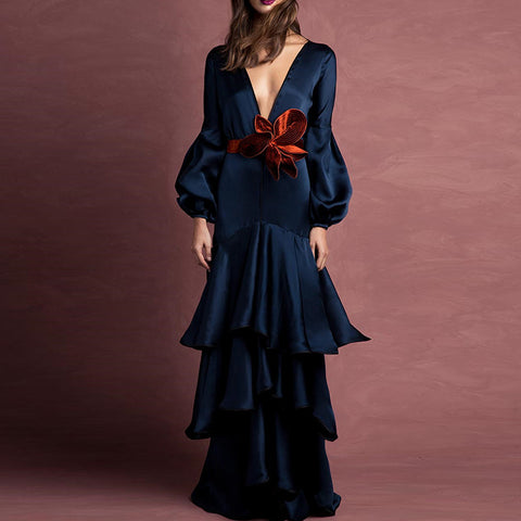 Plunging lantern sleeve bowknot formal dresses