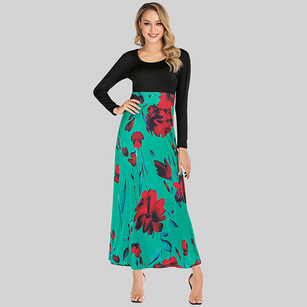 Plus size gathered waist long sleeve floral dresses