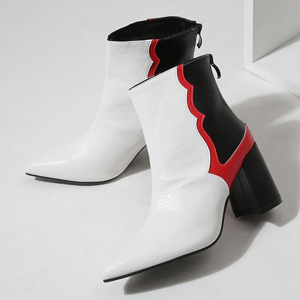 Pointed toe color block short boots