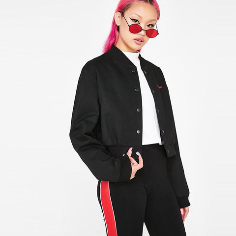Buttoned letter print bomber jackets - Fancyever