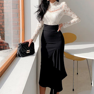 Lace sexy transparent midi skirt suits