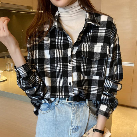 Turn down collar plaid color blocked shirts