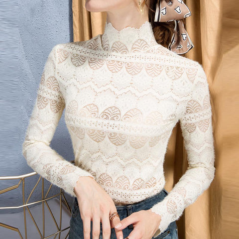 Turtleneck lace openwork slim knit tops