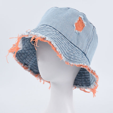 Summer color block ripped denim bucket hats