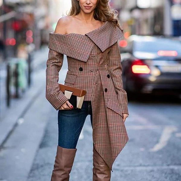 Off the shoulder plaid asymmetric jackets