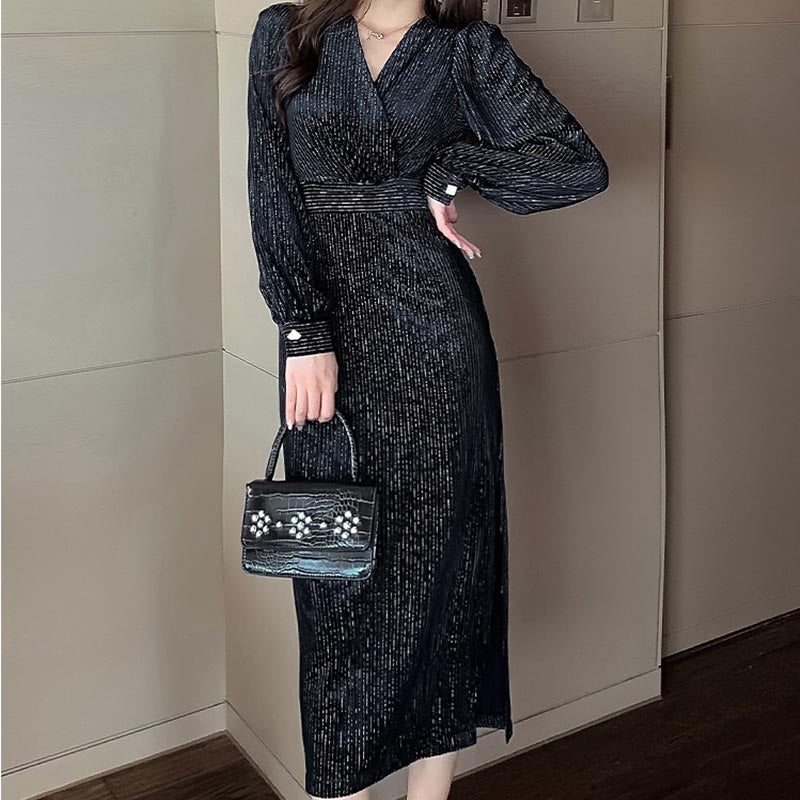 Gathered waist solid puff sleeve formal dresses