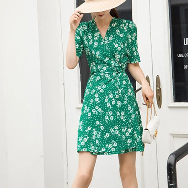 V-Neck short sleeve chiffon dresses - Fancyever