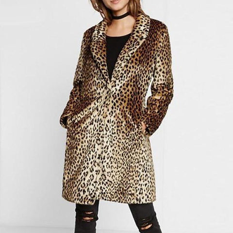 Notched collar buttoned leopard coats