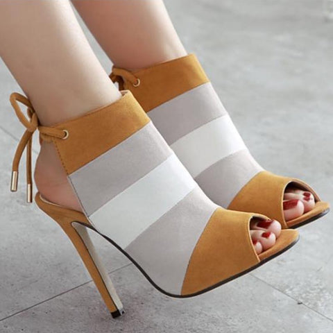 Peep toe patchwork ankle tie sandals