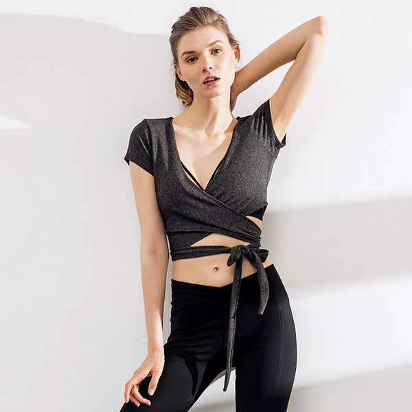 Quick dry wrap cropped sport tees tops - Fancyever