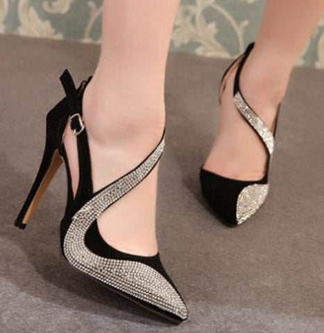 Pointed toe rhinestone ankle-strap heels