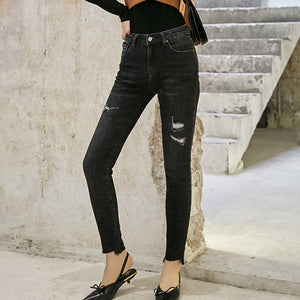 Rough selvedge ripped skinny pants - Fancyever
