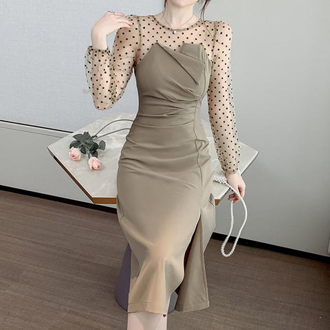 Patchwork mesh dot transparent shift dresses