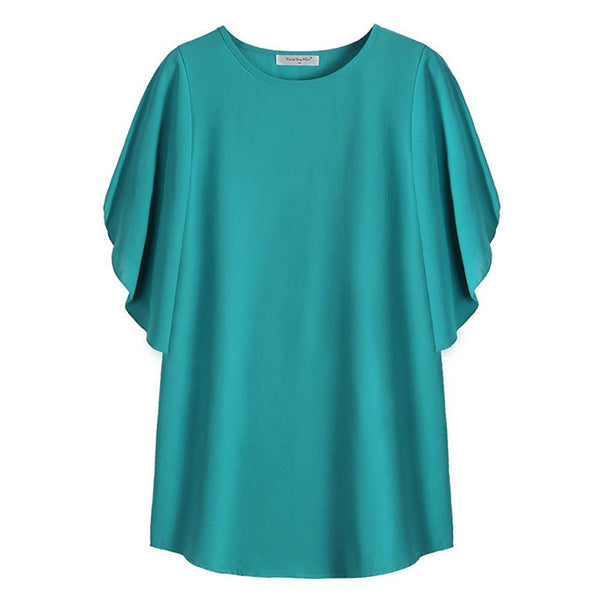 Flare sleeve draped mid-long loose blouses
