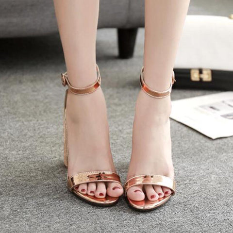 Gold ankle-strap rhinestone sandals