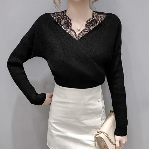 V neck patchwork lace slim knit tops