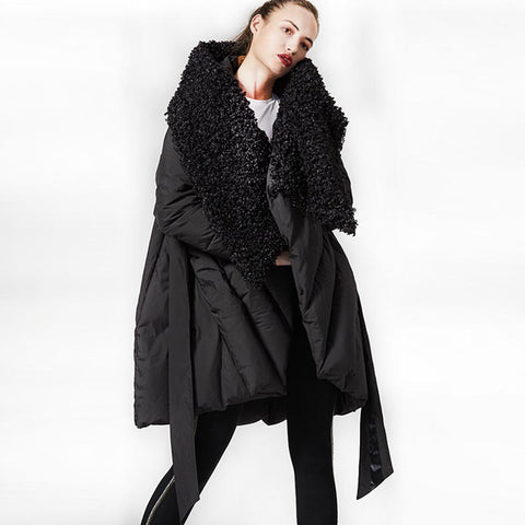 Faux fleece patchwork belted down coats